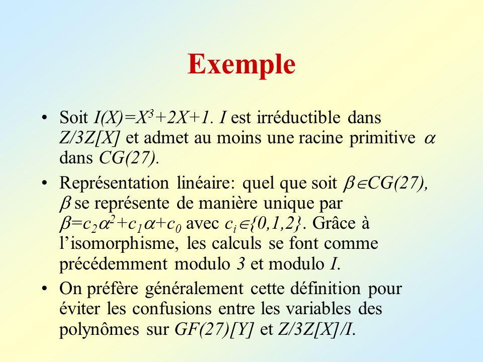Exemple Soit I(X)=X3+2X+1. I est irréductible dans Z/3Z[X] et admet au moins une racine primitive  dans CG(27).